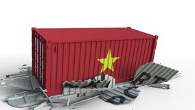 Ładunku zbiornik z flagą Wietnam łama zbiornika z EKSPORTOWYM tekstem Konceptualna 3D animacja zbiory