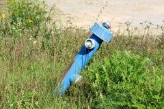 Łamający stronniczo rdzewiejący oparty stary błękitne wody hydrant otaczający z wysoką uncut trawą i małymi kwiatami fotografia stock