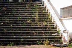 Łamani schodki z specjalną podnośną platformą dla wózków inwalidzkich użytkowników przy wejściem zaniechana budynku seansu rdza i fotografia royalty free