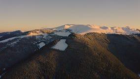 冬天在雪山的风景飞行 股票录像
