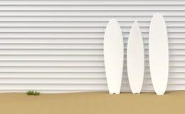 冲浪板和木篱芭例证 库存例证