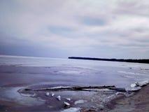 冻河在乌克兰 免版税库存照片