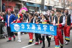 农历新年舞蹈和游行在Usera邻里,马德里,西班牙 免版税库存图片