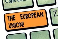 写显示欧盟的笔记 陈列欧洲经济共同体会员国演变的欧盟的企业照片 库存图片
