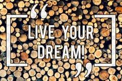 写笔记陈列居住您的梦想 企业照片陈列的刺激是成功的启发幸福达到 库存照片