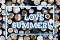 写笔记showingI爱夏天 对木年的假期的晴朗的热的季节的企业照片陈列的喜爱 库存照片