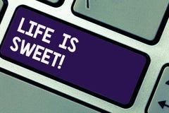 写笔记showingLife是甜的 看事件刺激的好边企业照片陈列的幸福启发 免版税库存照片