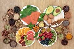 减少重音和忧虑的健康食品 库存图片