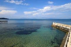 凯泽的桥梁,科孚岛海岛,希腊,欧洲 免版税库存图片