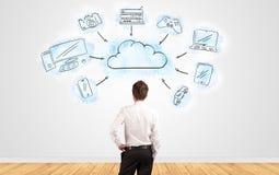 商人怀疑看对有网上任务安排概念的墙壁 库存图片