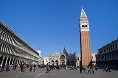 共和国总督` s宫殿和钟楼在威尼斯,意大利 免版税库存图片