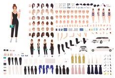 典雅的年轻女人动画集合或建设者成套工具 身体局部,姿态,姿势,晚装的汇集 向量例证