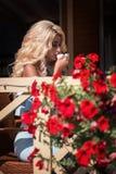 典雅的蓝色礼服的秀丽肉欲的妇女在咖啡馆 免版税库存图片