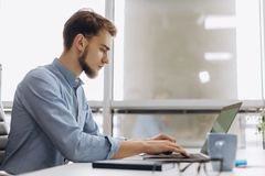 充分的集中在工作 衬衣工作的英俊的年轻胡子人在膝上型计算机,当坐在他的工作场所时 免版税库存照片