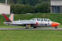 前法国人空军队Armee De La€TAirAir Fouga CM-170R Magister喷气机教练机F-AZPZ 免版税图库摄影