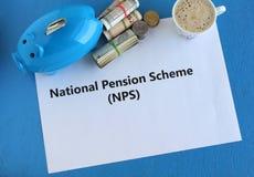 国民养老金收入的养老金计划NPS投资在退休以后 库存图片