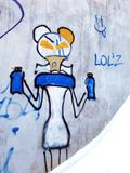 Ścienna sztuka Dziwni graffiti zdjęcia stock