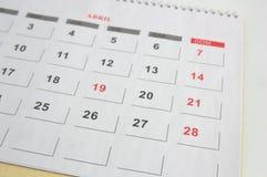 Ściennego kalendarza prześcieradło z miesiącem Kwiecień obraz royalty free