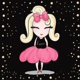 Śliczna dziewczyna z różowym faborkiem ilustracja wektor