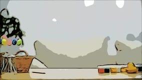 Śliczna mała dziewczynka z królików ucho chuje pod stołem Wielkanocne dekoracje pełno Mały śliczny biały królik jest zdjęcie wideo