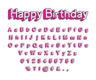 Śliczni 3D listy Angielski abecadło, uppercase i lowercase, ilustracji