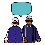 Śliczni dziadkowie dobierają się międzyrasowy opowiadać royalty ilustracja