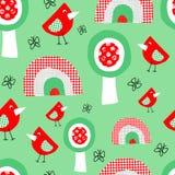 Śliczni ptaków drzewa i tęcza bezszwowy wzór dla dzieciaków Kolażu stylowy dziecięcy tło dla dzieci w czerwieni zieleni i ilustracja wektor