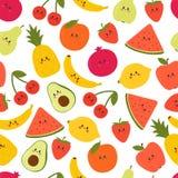 Śliczny Bezszwowy wzór z kreskówek owoc Kawaii Kreatywnie zdrowy tło nowożytna elegancka tekstura Wielki dla tkaniny, tkanina fotografia stock