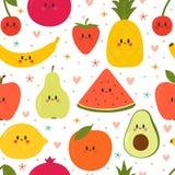 Śliczny Bezszwowy wzór z kreskówek owoc Kreatywnie zdrowy tło Kawaii nowożytna elegancka tekstura Wielki dla tkaniny, tkanina fotografia stock