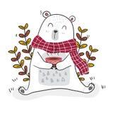 Śliczny biały niedźwiedź ma kawę w wiosna sezonie z pszczołą troszkę royalty ilustracja