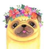 Śliczny kreskówka mops jest ubranym kwiat koronę ilustracji