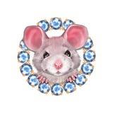 Śliczny kreskówka szczur 2 i klejnoty ilustracji