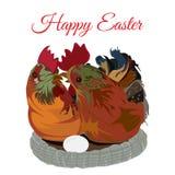 _śliczny kurczak rodzina w the gniazdeczko, wektorowy płaski ilustracja ilustracja wektor