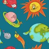 Śliczny przestrzeń wzór dla dzieciaków Planety i słońce obrazy stock