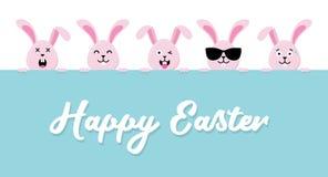 Śliczny Wielkanocnych królików znaka szczęśliwy Wielkanocny wektor ilustracja wektor