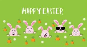 Śliczny Wielkanocnych królików znaka szczęśliwy Wielkanocny wektor ilustracji