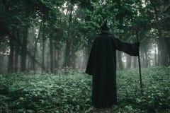 Śmierć w czarnym hoodie z kosą w lesie obraz stock