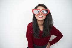 Śmieszna kobieta w szkłach zdjęcia royalty free
