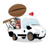 Śmiesznego kawowego samochodu dostawczego parkujący, życzliwy doping i i ilustracja wektor