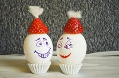 Śmieszni Bożenarodzeniowi jajka zdjęcie royalty free