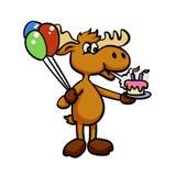 Śmieszny szczeniak z balonem i tortem ilustracja wektor