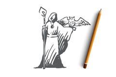 Środek, magik, czarownik, sowa, kostiumowy pojęcie Ręka rysujący odosobniony wektor ilustracji