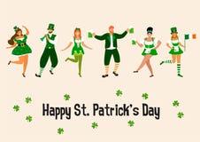 Świętego Patrick ` s dzień Szablon z śmiesznymi tanów ludźmi w świątecznych kostiumach również zwrócić corel ilustracji wektora P royalty ilustracja