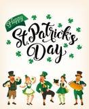 Świętego Patrick s dzień Szablon z śmiesznymi tanów ludźmi w świątecznych kostiumach również zwrócić corel ilustracji wektora Pom ilustracji