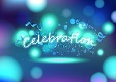 Świętowanie, przyjęcia tła dekoracji rozmyci błękitni abstrakcjonistyczni confetti i faborki spada, kartka z pozdrowieniami festi royalty ilustracja