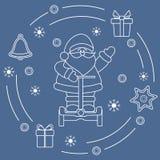 Święty Mikołaj, prezenty, dzwon, miodownik royalty ilustracja