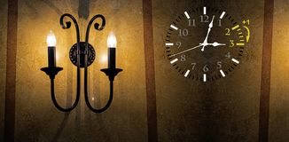 Światła dziennego oszczędzania czas DST Ścienny zegar iść zima czas Zwrota czas naprzód zdjęcia stock