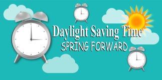 Światła dziennego oszczędzania czas z zegarem i słońcem ilustracja wektor