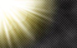 Światło słoneczne z ranek mgłą na przejrzystym tle Wiosna szablon z żółtymi promieniami Słońce i obiektyw migoczemy lekkiego skut ilustracji