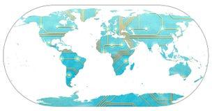 Światowa mapa z kontynentami wypełniał drukowaną obwód deską Pojęcie cyfrowy świat, związany przytłaczający i świat używa zdjęcie royalty free
